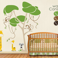 "Baby Nursery Wall Decals - Jungle Tree Wall Decal - Tree Wall Decals - Large: approx 88"" x 80"" - K001"