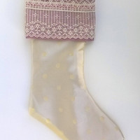 "Cream and Mauve Lacy Upcycled Christmas Stocking, 14"" Long"
