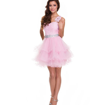 2014 Prom Dresses - Baby Pink One Shoulder Tulle Short Prom Dress