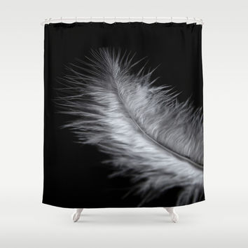 feather in white Shower Curtain by VanessaGF