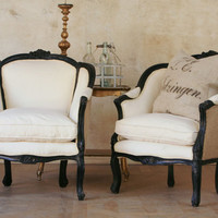 ruggedly chic black wingback chairs by bohemiennes on Etsy