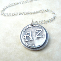 Wax seal bridesmaid monogram necklace pendant jewelry in first and last initials, custom made to order