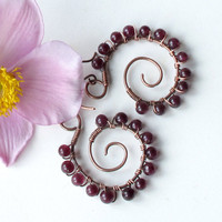 Garnet spiral earrings - copper wire wrapped gemstones