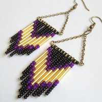 Black, Purple and, Gold Chevron Earrings