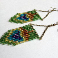 Green Beaded Peacock Feather Earrings