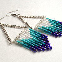 Purple Teal and Turquoise Ombre Beaded Earrings