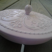 Shabby Chic Pink Candy Bowl with Embossed Floral Lid Cottage Style Candy Dish With Romantic Flowers Lid