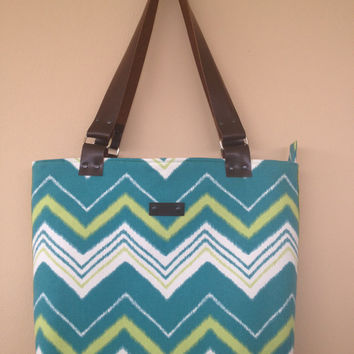 Chevron Bag, Cotton Canvas Fabric Tote, Zipper closure Large Tote, Leather Straps Bag, Fabric Purse, Teen Purse, Student Purse