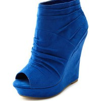 Sueded Peep-Toe Wedge Bootie: Charlotte Russe