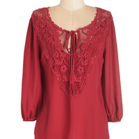 ModCloth Mid-length 3 Lifelong Romantic Top in Ruby