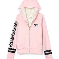 Faux Fur Zip Hoodie - PINK - Victoria's Secret