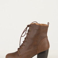 Pointy Toe Lace Up Booties - Brown - Brown /