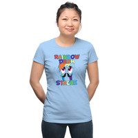 Rainbow Dash Stache Ladies' Tee - Light Blue,