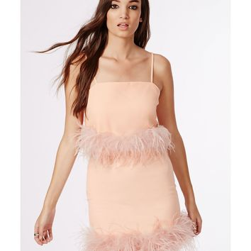 Missguided - Feather Trim Crop Top Pink