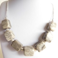 Silver and Gray Marble Necklace