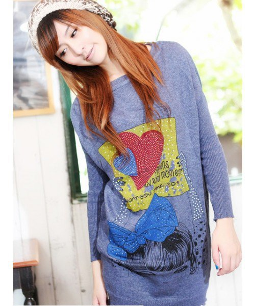 Blue Long Women Sweater Autumn Top@T656bl