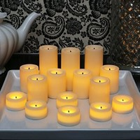 Candle Impressions Set of 15 Battery Operated Faux Wick LED Assorted Collection