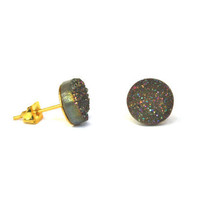 Druzy Stud Earrings - Bonfire (v32)