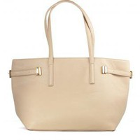 Leather Look Nude Tote with Zip Closure &amp; Metal Buckles