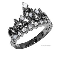 Sterling Silver Crown Ring / Princess Ring (Black Rhodium Plated) (5)