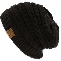 Trendy Warm Chunky Soft Stretch Cable Knit Slouchy Beanie Skully HAT20A,One Size,Black