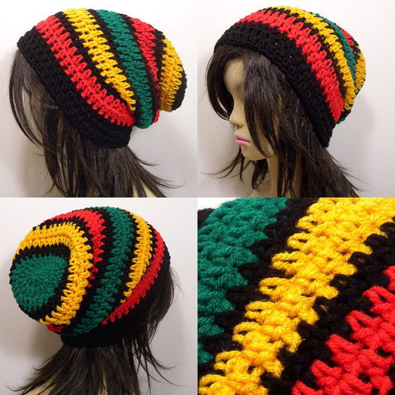 Free Crochet Pattern For Rasta Hat : Slouchy Beanie Crochet Hat in Thick Rasta from StarrCrunch on