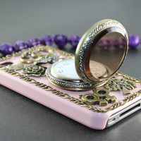 Pocket Watch ,love heart , tree, flower, you&me:) Baby Pink  hard case cover--for Apple iPhone 4 Case, iPhone 4s Case, iPhone 4 Hard Case