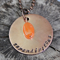 Serendipitous Necklace, Inspirational Necklace, Antiqued Copper, Gift for Her, Carnelian, Stamped Pendant
