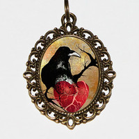 Raven Heart Necklace, Crow Necklace, Raven Pendant, Anatomical Heart, Bird Jewelry, Black Bird, Gothic, Oval Pendant