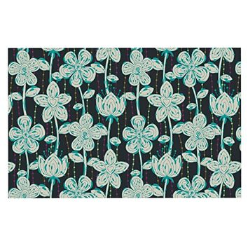"Kess InHouse Julia Grifol ""My Grey Spotted Flowers"" Decorative Doormat, 24 by 36-Inch"