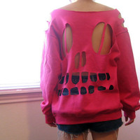 pink skull cut  sweatshirt medium