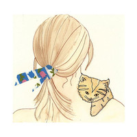 Girl holding Kitten Watercolor by bonjourfrenchie on Etsy