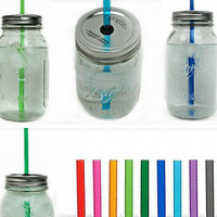 Ten Mason Jar To-Go Tumbler Lids - Reusable Canning Jar Tops and Straws - You Pick Colors - 10.5&quot; Straw