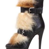 Bqueen Toundra Fur Boot Black C026H