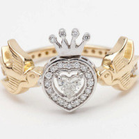 Diamond Heart Ring with Swallows and Crown, 18ct Yellow and White Gold