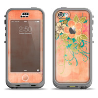 The Vintage Coral Floral Apple iPhone 5c LifeProof Nuud Case Skin Set