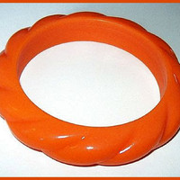 Vintage Orange Bakelite or Lucite Bangle Style Bracelet 1950s Mod Era 2 1/2&quot;