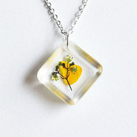 Pressed Flower Necklace. Real  Flower in Resin. Yellow Petal and Flower. Square Pendant. Custom Order