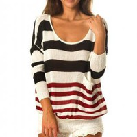 Striped Long Sleeve Slouchy Sweater with Scoop Neckline