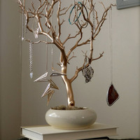Jewelry Tree - Gold and Cream  18&quot;
