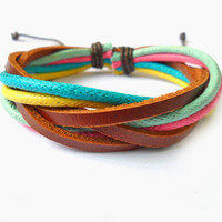 Bangle leather bracelet woven bracelet ropes bracelet women bracelet men bracelet with Colorful rope and leather woven SH-1466