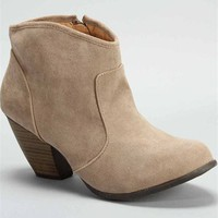 Suede Taupe Ankle Booties