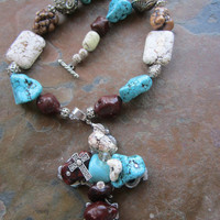 Bold Chunky Cross Turquoise Necklace Brown Blue Handmade