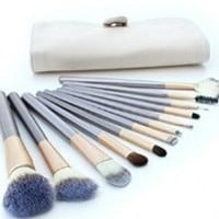 G2Plus Latest Horse Hair Professional Makeup Cosmetics Brushes Set Kits with Cream-Colored Case Bag (12PCS)