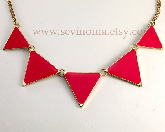Triangle necklace, geometric necklace, red Triangle necklace, ON SALE