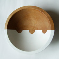 "On the Horizon Hardwood Small 7"" Bowl, White Bean"