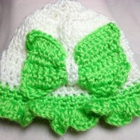 Baby Hat Lime Green White Bow Ruffle Cloche Hand Crocheted Soft