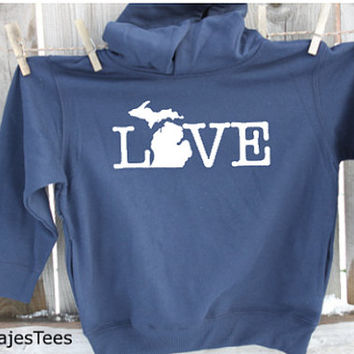 Kids Michigan Love Hoodie, Michigan Sweatshirt, State, Home, Mitten