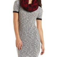 Sweater Knit Ringer T-Shirt Dress - Med. Gray Heather