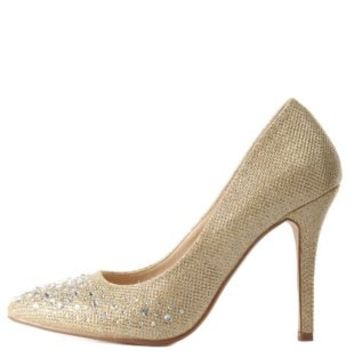 Glitter & Rhinestone Pointed Toe Pumps by Charlotte Russe - Gold